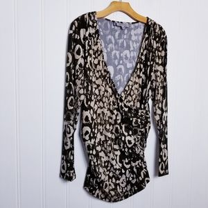 Jennifer Lopez Faux Wrap Ruched Animal Print Top
